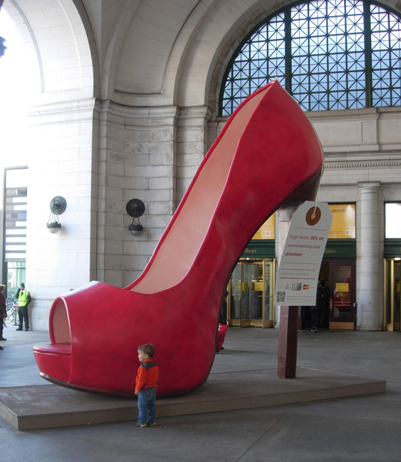 Giant Foam High Heeled Shoe at DC's Union Station